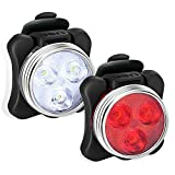 USB Rechargeable Bike Light Set, Super Bright Front Headlight and Rear LED Bicycle