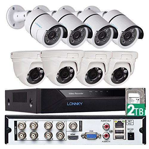 LONNKY Video Security Cameras System, 8CH Full HD 1080P CCTV DVR Recorder Surveillance Camera System with 2TB HDD, 8 x 2.0MP Weatherproof Outdoor Security Cameras (4 Bullet Camera + 4 Dome Camera)