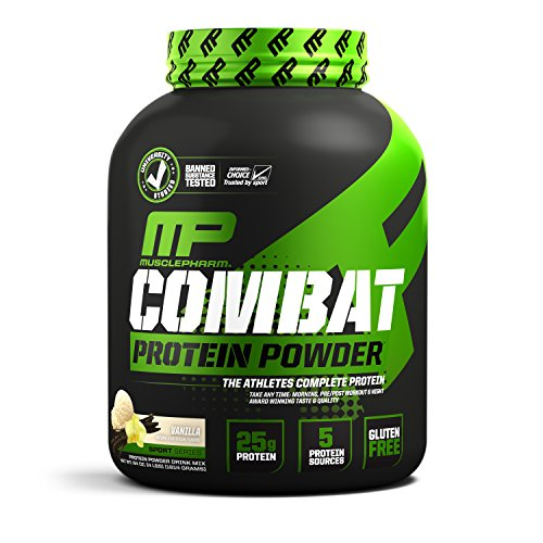 MusclePharm Combat Protein Powder, Essential Whey Protein Powder, Isolate Whey Protein, Casein and Egg Protein with BCAAs and Glutamine for Recovery, Vanilla, 4-Pound, 54 Servings ()