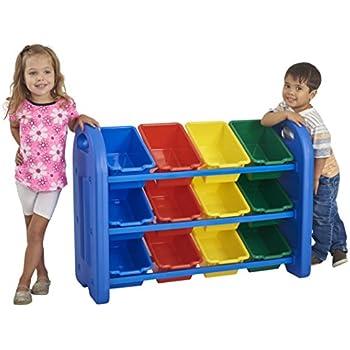 ECR4Kids 3-Tier Toy Storage Organizer with Bins, Blue with 12 Assorted-Color Bins, GREENGUARD Gold Certified Toy Organizer and Storage for Kids' Toys, Kids' Toy Storage