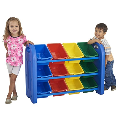 ECR4Kids 3-Tier Toy Storage Organizer for Kids, Blue with 12 Assorted Color (12 Assorted Bins)