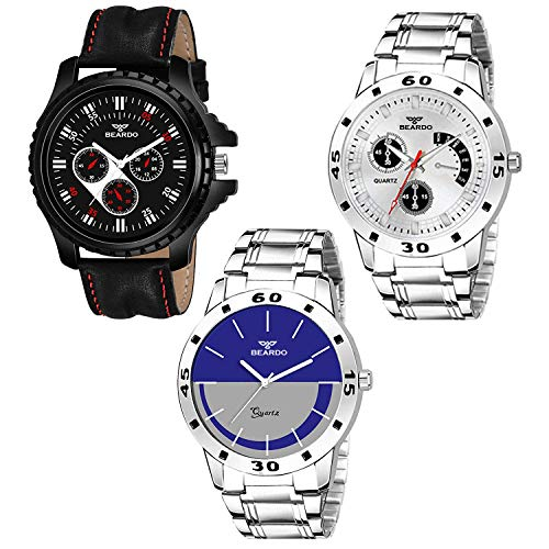 BEARDO Analogue Men's Watch (Assorted Dial Assorted Colored Strap) (Pack of 3)
