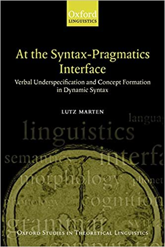 d3fa28591757 Amazon.com: At the Syntax-Pragmatics Interface: Verbal Underspecification  and Concept Formation in Dynamic Syntax (Oxford Studies in Theoretical ...