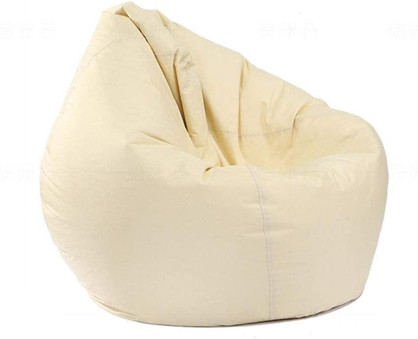 Mekysd Home Soft Lazy Sofa Cozy Single Chair Durable Furniture Unfilled Lounge Bean Bag (Beige)