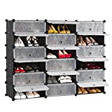 LANGRIA 18-Cube DIY Shoe Box, Multi Use Modular Shoe Organizer Storage Plastic Cabinet with Doors, Black and White Curly Pattern