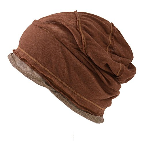 Beanie Mens Casual Hats - Casualbox mens Slouch Large Big Beanie Baggy Hat Knit Japanese Fashion Brown,Free Size