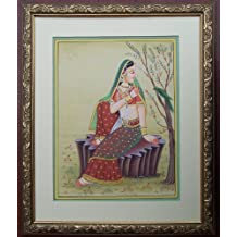 Lady Talking with Parrot, Ragini, Paper Painting