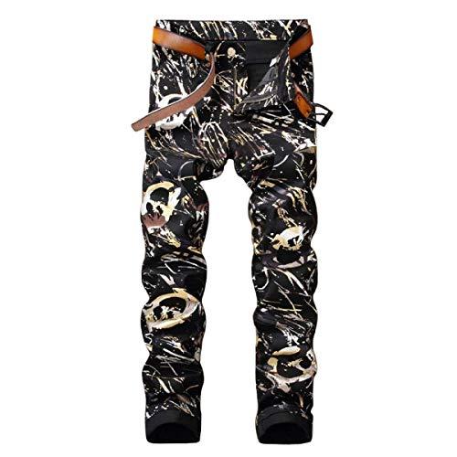 Printing Da Microbombe Cinturino Vita Giovane Jeans Bassa Slim Uomo Con Senza Pantaloni Fit Casual Dritta 6IqdwdfAx1