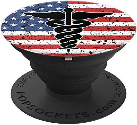 Health Care American Flag Caduceus Design Country Gift - PopSockets Grip and Stand for Phones and Tablets