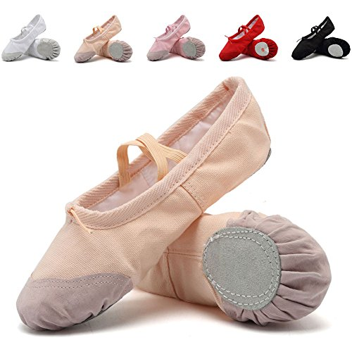 CIOR Ballet Slippers for Girls Classic Split-Sole Canvas Dance Gymnastics Yoga Shoes Flats(Toddler/Little Kid/Big Kid),VTW01,skin,31