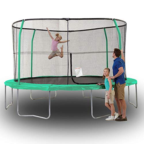 JumpKing 14 Foot Padded Enclosed Round Trampoline with G3 Poles & Safety Lock by JumpKing (Image #1)