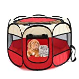 Ningje Foldable Pet Octagonal Tent Dogs Cats Removable Mesh Shade Cover (M, M Red)
