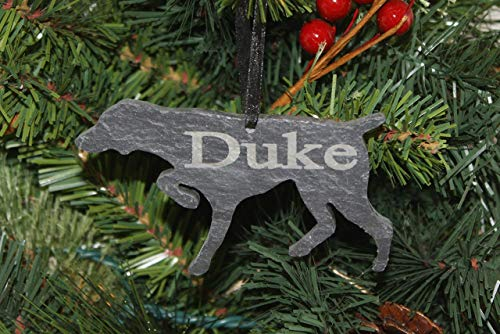 (Custom German Shorthaired Pointer Slate Ornament - Personalized Memorial for your Pet)