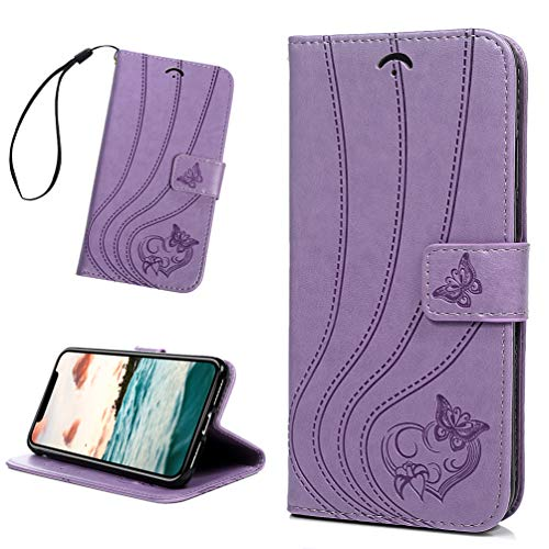 iPhone Xs Max Wallet Case, Purple Embossed Love Pattern Butterfly Detachable Slim Fit Magnetic Car Mount Card Solts Holder PU Leather Flip TPU Inner Bumper Cover Case for iPhone Xs Max 6.5