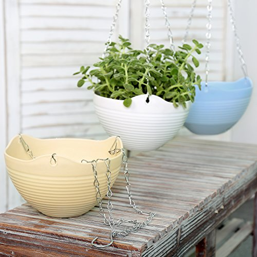 Multi Colored Self-Watering Flower Pot Container, Hanging Planter with Chain, Set of 3 by MyGift
