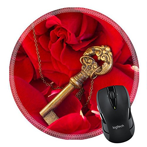 MSD Mousepad Round Mouse Pad/Mat 34908536 Key with the red blooming rose and fresh petals as a symbol of love