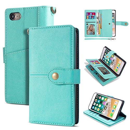 Black Friday Deals Cyber Monday Deals-iPhone 8 Case, iPhone 7 Wallet Case,Flip Leather Credit Card Holder Cash Pockets Wristlet Protective Case for iPhone 8/7 4.7inch (Green)]()