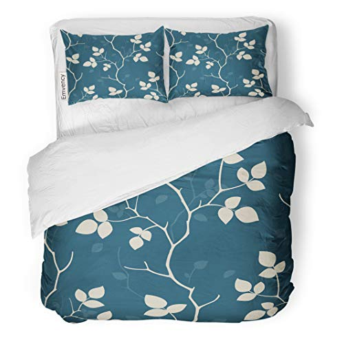 Silhouette Floral Wallpaper - Emvency Decor Duvet Cover Set Twin Size Pattern Wallpaper Seamless Geometric Nature Floral Vector Retro Tree Silhouette 3 Piece Brushed Microfiber Fabric Print Bedding Set Cover