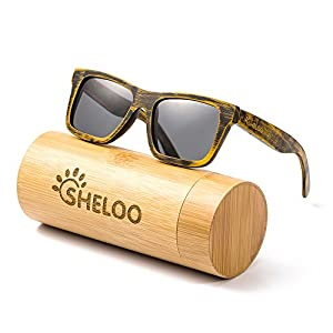 Bamboo Wood sunglasses 100% Hand-made, UV400 Polarized Lens, Retro Style Red