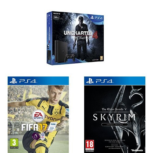 PS4 slim 500GB + Uncharted 4 + FIFA 17 + Skyrim