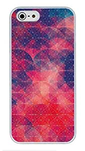 5S Cases, iPhone 5S Protective Case - Red Geometric Circles High Quality PC Plastic Slim Lightweight Hard Case Cover for iPhone 5/5s White