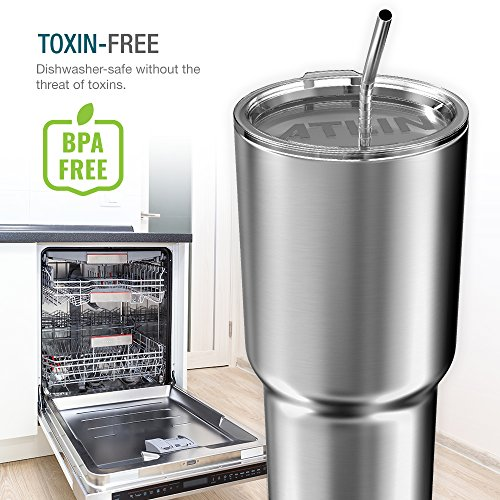 Atlin Tumbler [30 oz. Double Wall Stainless Steel Vacuum Insulation] Travel Mug [Crystal Clear Lid] Water Coffee Cup [Straw Included]For Home,Office,School - Works Great for Ice Drink, Hot Beverage by Atlin Sports (Image #5)