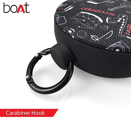 boAt Stone 260 Portable Wireless 4W Speaker with Power Bass, Bluetooth V5.0, IPX5 Water & Splash Resistance, Up to 5H Playtime and Carabiner (Charcoal Black)