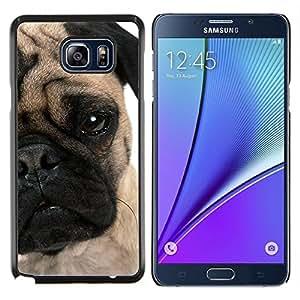Pug Cachorro Cara arrugada ojo perro Hocico- Metal de aluminio y de plástico duro Caja del teléfono - Negro - Samsung Galaxy Note5 / N920