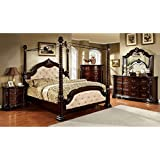 Monte Vista Dark Walnut Finish Ivory Leatherette King Size 6 Piece Canopy Bedroom Set