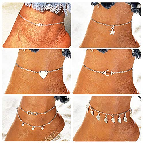 Suyi 6Pcs Adjustable Beads Charm Anklet Chains Women Girl Sexy Slim Beach Foot Chains Jewelry Set Silver