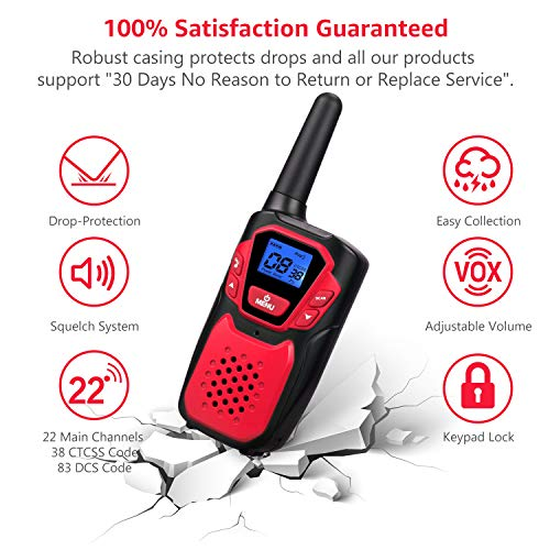 Walkie Talkies for Kids Rechargeable Easy to Use Family Walky Talky Toy for 3-12 Years Old Boys and Girls Birthday for Camping Hiking Outdoor with Regular Micro-USB Charger//Battery