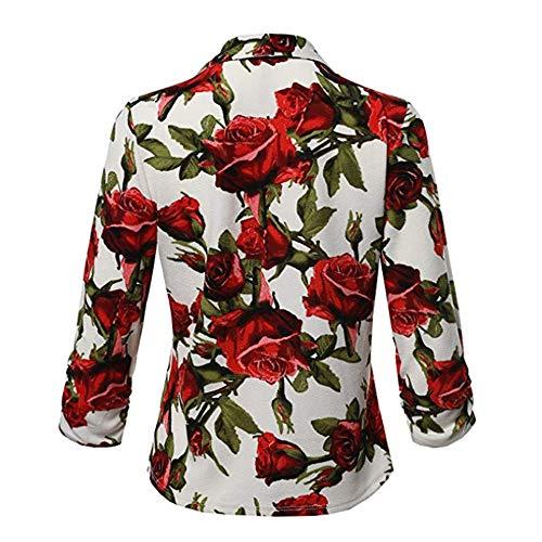 De Estampado Moda Xmiral Trabajo Flores Blazer Con Rojo Mujeres IzIZqxS