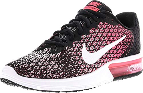 NIKE Womens Air Max Sequent 2 Running Shoes Black/White/Racer Pink 852465-004 Size 10 -