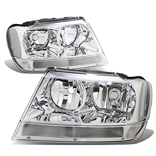 - For 99-04 Jeep Grand Cherokee WJ Pair of Chrome Housing Clear Corner Headlights/Lamps