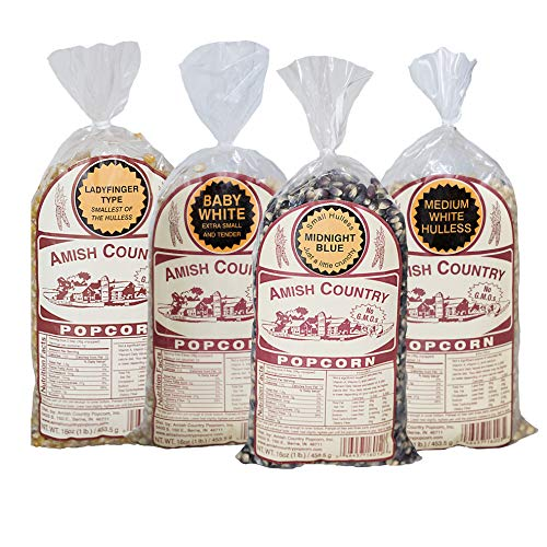 Amish Country Popcorn - 4 (1) Lb Variety Gift Set - Recipe Guide - Baby White Popcorn, Medium White Popcorn, Ladyfinger Popcorn and Midnight Blue Popcorn - Old Fashioned and Non GMO