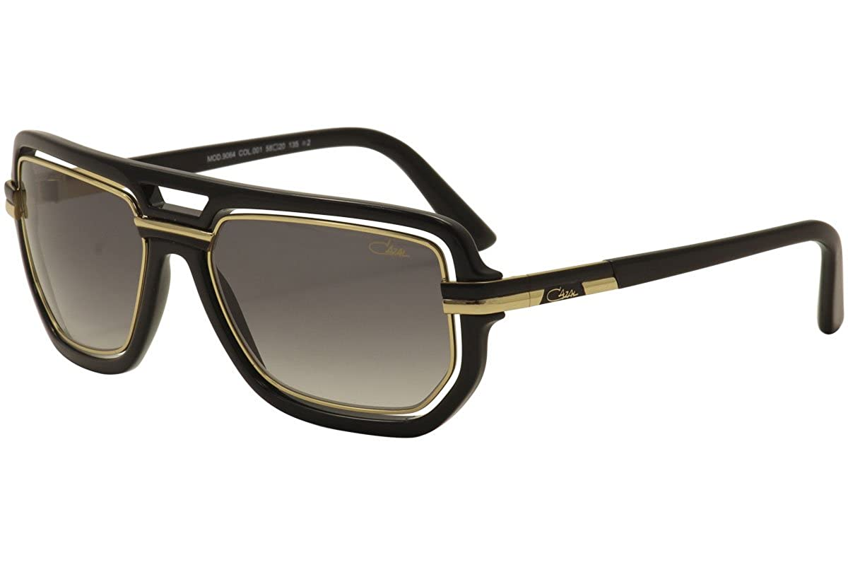 a17f2ecfa032 Amazon.com  Cazal Men s 9064 001 Black Gold Retro Aviator Fashion Sunglasses  58mm  Clothing
