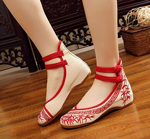 DESY Gestickte Schuhe, Sehnensohle, ethnischer Stil, weibliche Tuchschuhe, Mode, bequem, lässig innerhalb der Zunahme , red , 36