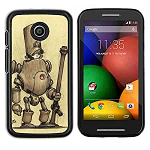Dragon Case - FOR Motorola Moto E (1st Gen, 2014) - robot sad monster cute drawing sketch - Caja protectora de pl??stico duro de la cubierta Dise?¡Ào Slim Fit
