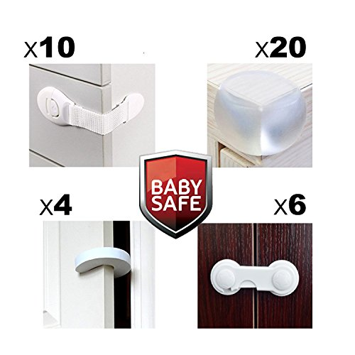 Child Home Furniture Safety & Baby Proof Kit ,20 Corner Guards, 10 Child Safety Cabinet Locks,6 Security Lock Latches, 4 Door Stoppers included (40 Pack) ,Easy to install