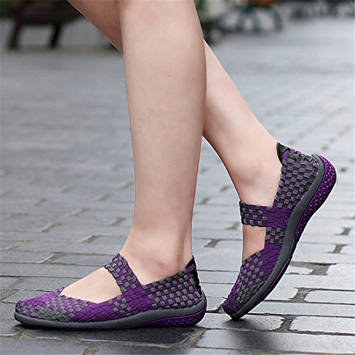 Mode Stretch Baskets Walking Femme Slip Mocassins Chaussures Sevenwell Pour Respirantes Tisss Violet on 5fAYxwOn