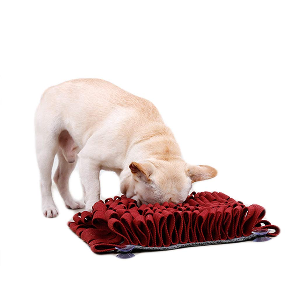 SAUWERAY Pet Sniffing Pad, Slow Food Carpet Toy, Washable Training Carpet Sucker Design to Prevent Sliding, Snuff Pad,Red by SAUWERAY