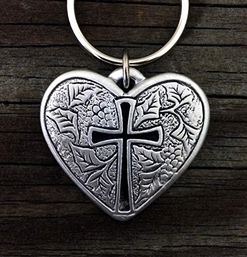Cross Charms Pewter (Heart Cross Keychain | Christian Jewelry in Fine Pewter |)