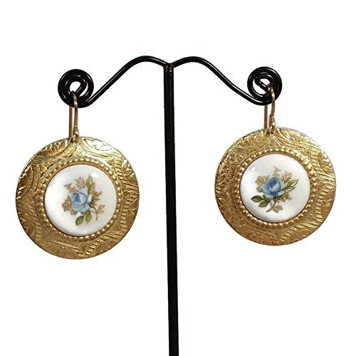 Floral Cameo Earrings (Blue Roses Cameo Golden Brass Drop Earrings, Floral Jewerly, Hypoallergenic)