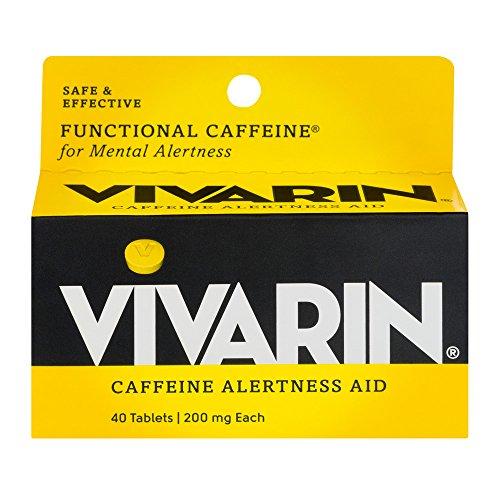 Vivarin, Caffeine Alertness Aid, 200mg, Tablets - 40 Tablets, Pack of 2 Caffeine Alertness Aid Tablets