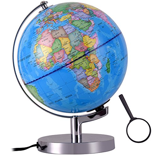 Qwork 8-inch Illuminated World Desktop Globe for Kids, Built in LED 2-in-1 Nightlight Political Globe Toy with Metal Stand (Spheres Traditional Lamp Table)