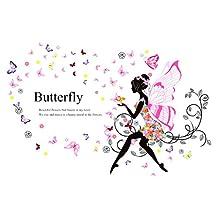 uxcell® Butterfly Wing Girl Removable Vinyl DIY Wall Art Mural Sticker Decal Decor for Living Room/Bedroom/Playroom/Hallway/Kindergarten/Home Office/School