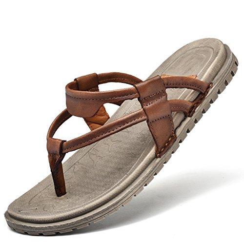 Men's Beach Flip Flops Sandals Leather Lightweight Open Toe Rubber Sole Comfort Thong Slippers(Brown) - Leather Rubber Sole Flip Flops