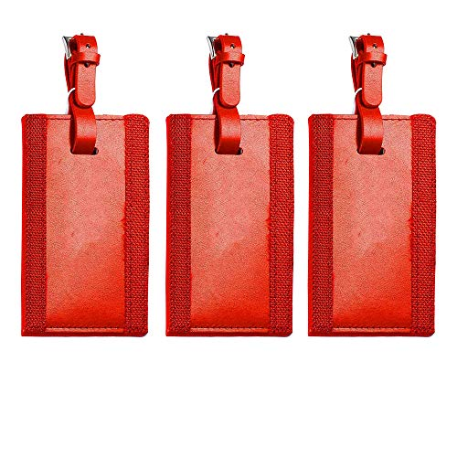 Leeman Red Leather Luggage Tags - Ilani Cowhide, Buckle Strap - Set of ()