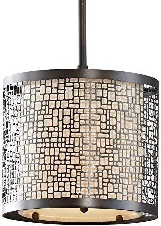 Feiss P1218LAB Joplin Drum Pendant Lighting, Bronze, 1-Light 8 Dia x 8 H 100watts