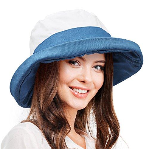 Reversible Sun Hat - Women's Sun Hat Reversible Bucket Cap UPF 50+ Outdoor Travel Beach Hat Blue